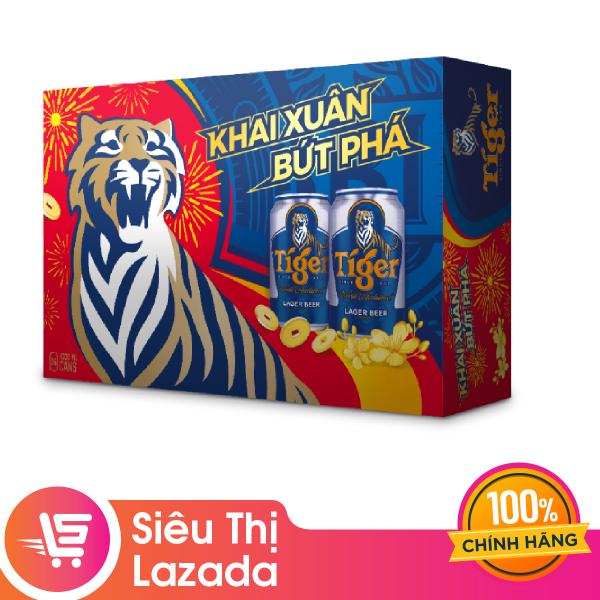 [Siêu thị Lazada] [FREESHIP + VOUCHER 20K] Thùng Bia Tiger 24 Lon (330ml / Lon) lên men tự nhiên cho hương vị êm dịu, thơm nồng bao bì Tết (N) giao hàng từ 9/1