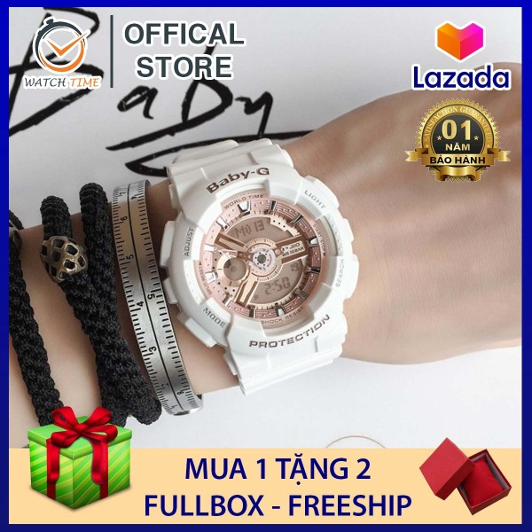 Đồng hồ Casio Baby-G Nữ BA-110 Trắng Rose Vàng - Dây, vỏ và mặt một màu cơ bản, đồng hồ thiết kế ôm sát cổ tay (Hàng Có Sẵn) bán chạy