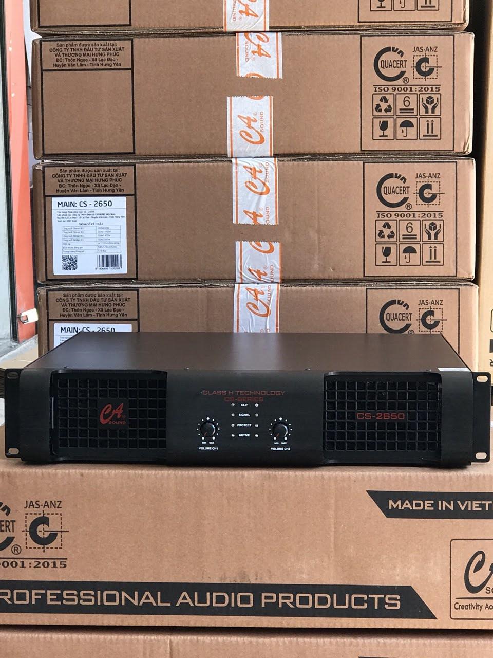 Đẩy công xuất CA Sound CS 2650, chuẩn hãng, 32 sò, 2 kênh, 800W /1 kênh nếu  loa 8 ôm, 1000W/1 kênh nếu loa 4 ôm.   Lazada.vn