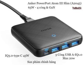 Sạc 4 cổng Anker Powerport III Slim 65W GaN - IQ3.0 (A2045) thumbnail