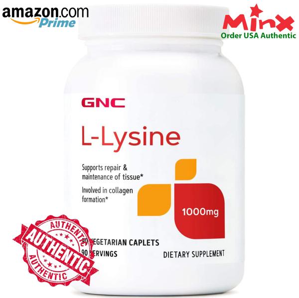Viên Uống GNC L Lysine 1000mg (90 viên) - GNC Double Strength L-lysine - Bổ Sung Amino Axit Điều Hòa Nội Tiết Llysine Now
