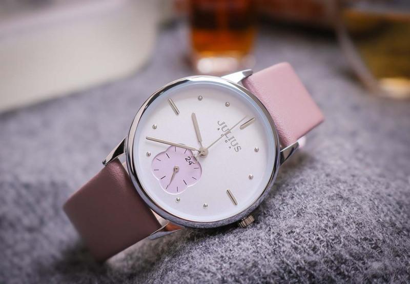 Đồng hồ nữ Julius Hàn Quốc JA-1244 dây da hình cỏ bốn lá