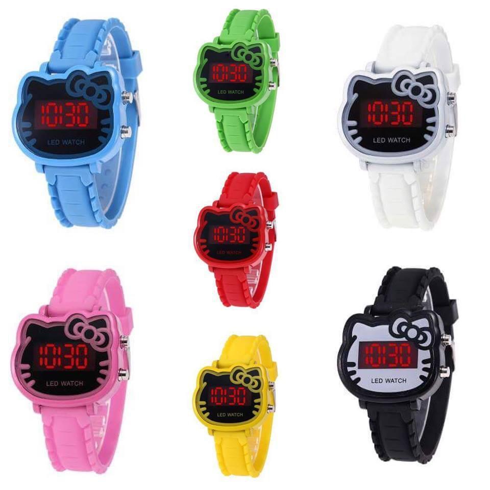 Nơi bán (Tặng kèm hộp và pin) Đồng hồ thời trang trẻ em điện tử Led hình mèo xinh xắn