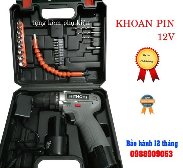[ SIÊU SALE ]Bộ máy khoan pin Hitachi 12v kèm phụ kiện