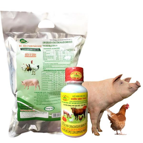 [Combo 2] Chế phẩm sinh học VƯỜN SINH THÁI và Men ủ vi sinh thảo dược BIO-MEN cho Chăn Nuôi gia súc gia cầm