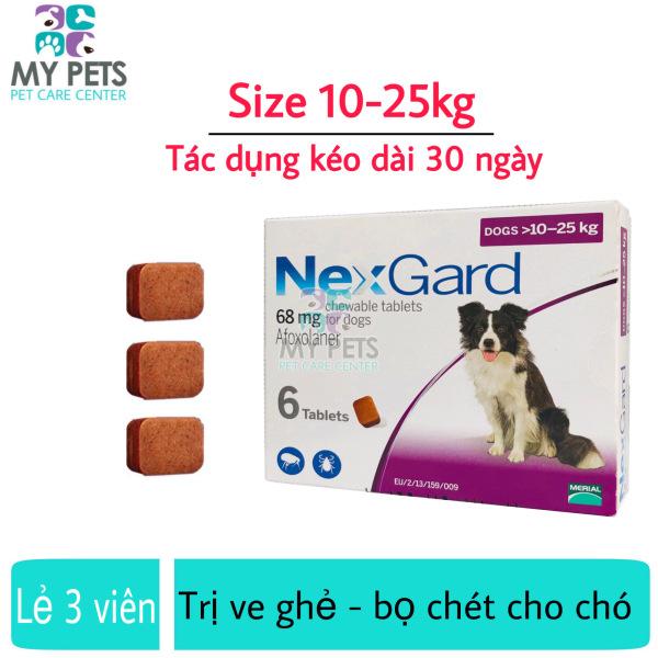 NEXGARD viên nhai ve ghẻ, bọ chét cho chó - Lẻ 3 viên (size 10-25kg. no box)