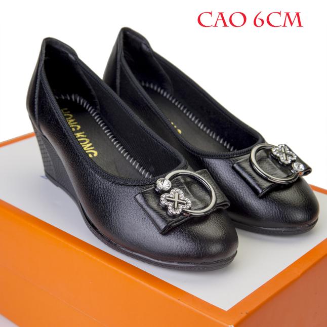 Giày nữ 6 cm da bò cao cấp đế cao su [NƠ ĐÁ] giá rẻ