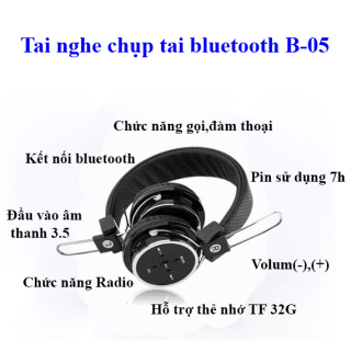 Tai nghe chụp tai - Tai nghe Bluetooth chụp tai B05 - thời sử dụng 7-8h - Tai nghe có lớp đệm êm - Có míc đàm thoại - Tai nghe không cần pin với dây cắm 3.5-kết nối 10m-chống va đập-hỗ trợ Fm-thẻ nhớ-Gấp nhỏ Gọn- Có quà Tặng thumbnail