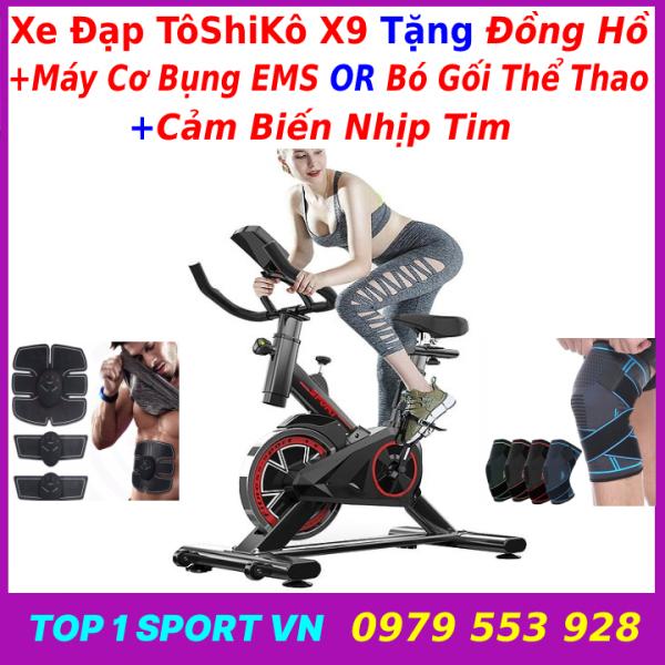 Xe đạp tập thể dục thể thao tập gym tại nhà Tôshikô X9 Spin Bike Chính Hãng tặng máy cơ bụng EMS hoặc bó gối thể thao + đồng hồ cảm biến nhịp tim, bảo hành 3 năm