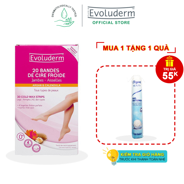 [06-10.06] Tẩy lông dạng miếng tinh chất Argan và Hoa Calendula cho chân và nách Evoluderm