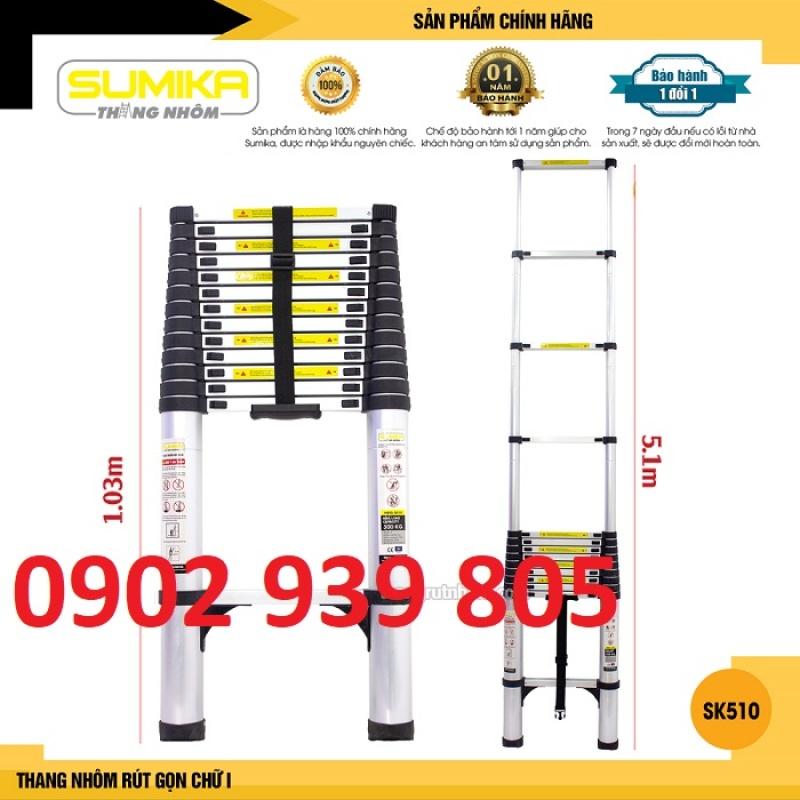 SK510 Thang nhôm rút gọn SUMIKA SK510 - Chiều cao tối đa 5.1m, chiều dài rút gọn 1.03m, hợp kim nhôm cao cấp, khóa chốt chắc chắn, đế cao su chống trượt, nhỏ gọn, di chuyển tiện lợi
