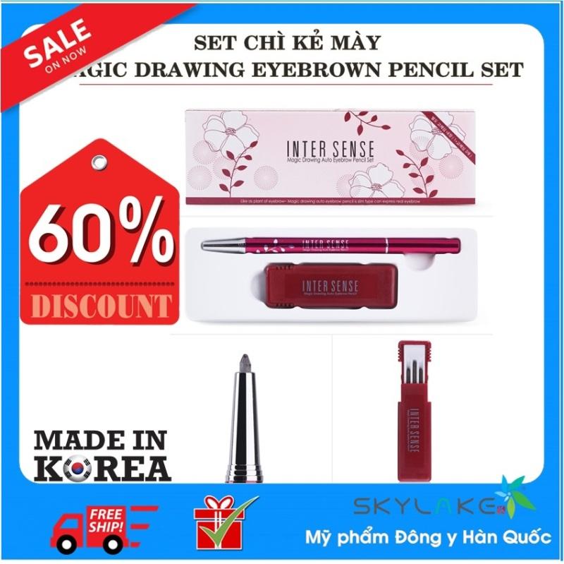 Set bút chì kẻ mày 2 đầu Hàn Quốc, có 3 lõi thay thế  Magic Drawing Auto Eyebrow Pencil Set - Mỹ phẩm thảo dược Hàn Quốc-Skylake giá rẻ