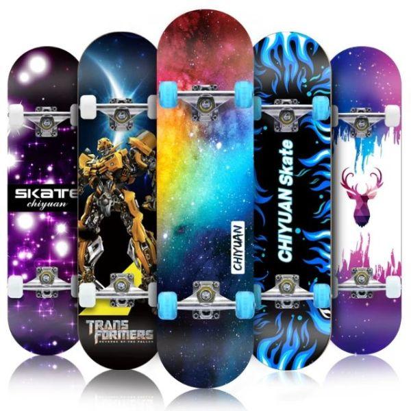 [ SALE CỰC SỐC ] Ván Trượt Skateboard Cao Cấp , Ván Trượt Mặt Nhám Bánh Cao Su Cỡ Lớn (Đạt Chuẩn Thi Đấu) , Ván Trượt Thể Thao Gỗ Phong Ép 8 Lớp Mặt Nhám KT 80x20c10cm-Chịu Lực 100kg-Khung Trục Bánh Xe Bằng Hợp Kim Cứng , BH 12T