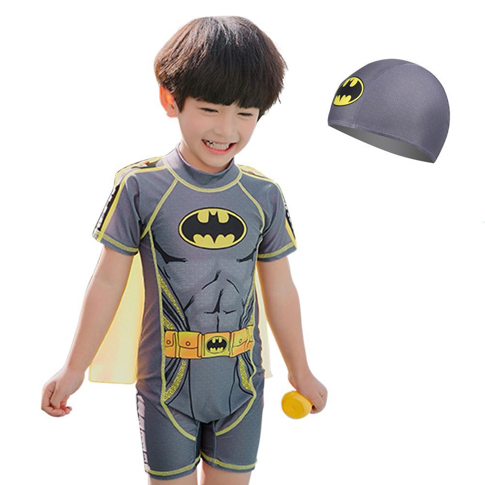 Boy Cartoon Cloak Conjoined Childrens Swimwear Muslim Swimsuit By Rui Green.