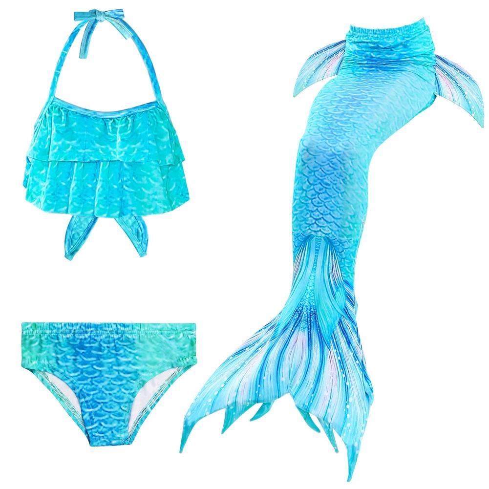 Giá bán 3 Cái/bộ Đồ Bơi Cho Bé Gái Nàng Tiên Cá Đuôi Cá Quần Lửng Quần Lót Màu Gradient
