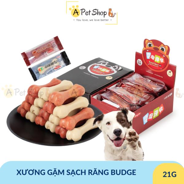 [1 cái] Xương gặm sạch răng cho chó Budge 21g vị bò/sữa - a pet shop