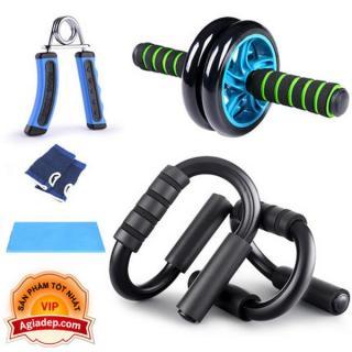 Bộ dụng cụ tập thể dục hít đất, con lăn, kìm tập cơ tay 3in1 thể dục thể thao Agiadep thumbnail