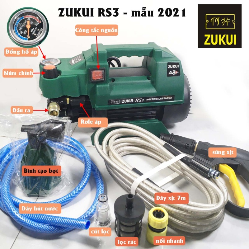 Máy rửa xe Zukui S5-Zukui RS3 -Osaka ZJ - 2400W-BH 12 tháng-chỉnh áp lực-tặng kèm bình xà phòng - Gia Dụng Minh Vy