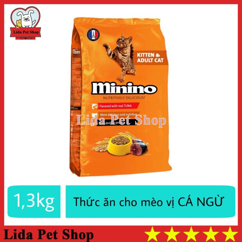 [Lấy mã giảm thêm 30%]HN- Thức Ăn Vị Cá Ngừ Dành Cho Mèo Mọi Lứa Tuổi - Thức ăn cho mèo Minino 1.3Kg - Lida Pet Shop