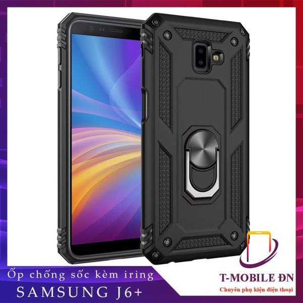 Ốp lưng Samsung J6+ J6 Plus 2018 chống sốc 2 lớp kèm nhẫn iring làm giá đỡ bảo vệ máy toàn diện chuẩn châu âu