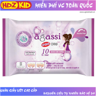 Khăn giấy ướt Agassi hương nhẹ chống khô da không gây nhờn và kích ứng, giữ ẩm và làm mềm da, sử dụng như giấy khô đa năng, dùng tẩy trang lớp trang điểm, thích hợp da nhạy cảm, sử dụng hàng ngày và khi du lịch - HDZ KID thumbnail