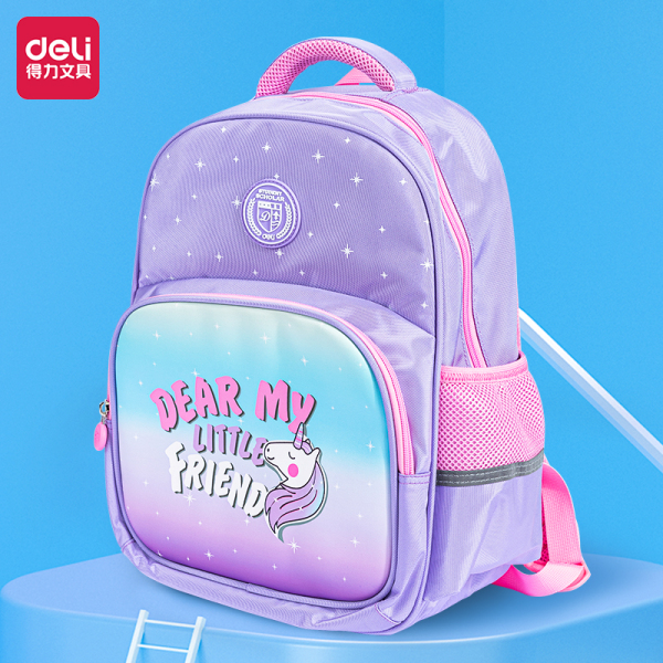 Balo học sinh tiểu học Deli cute nhiều màu sắc cho bé trai, bé gái đi học - Chất liệu vải dù chống nước B10