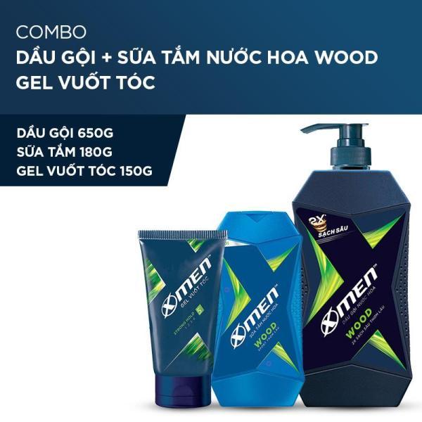 X Men -   Combo Dầu gội nước hoa X-Men Wood 650g + Sữa tắm 180g + Gel cứng tóc 150g  - Giá Sỉ tốt nhất