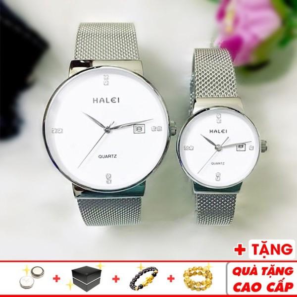 Đồng hồ cặp đôi Halei 6868 thời trang cao cấp chính hãng dây thép lụa đẳng cấp - Đồng Hồ Halei