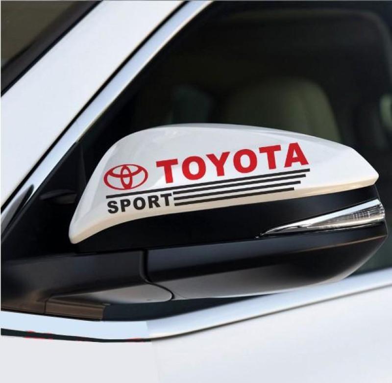 Bộ 2 tem dán gương chiếu hậu ô tô Toyota
