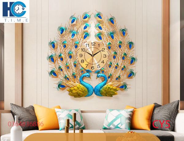 Nơi bán Đồng hồ trang trí chim công CY5 Đồng hồ treo tường Đồng hồ nghệ thuật