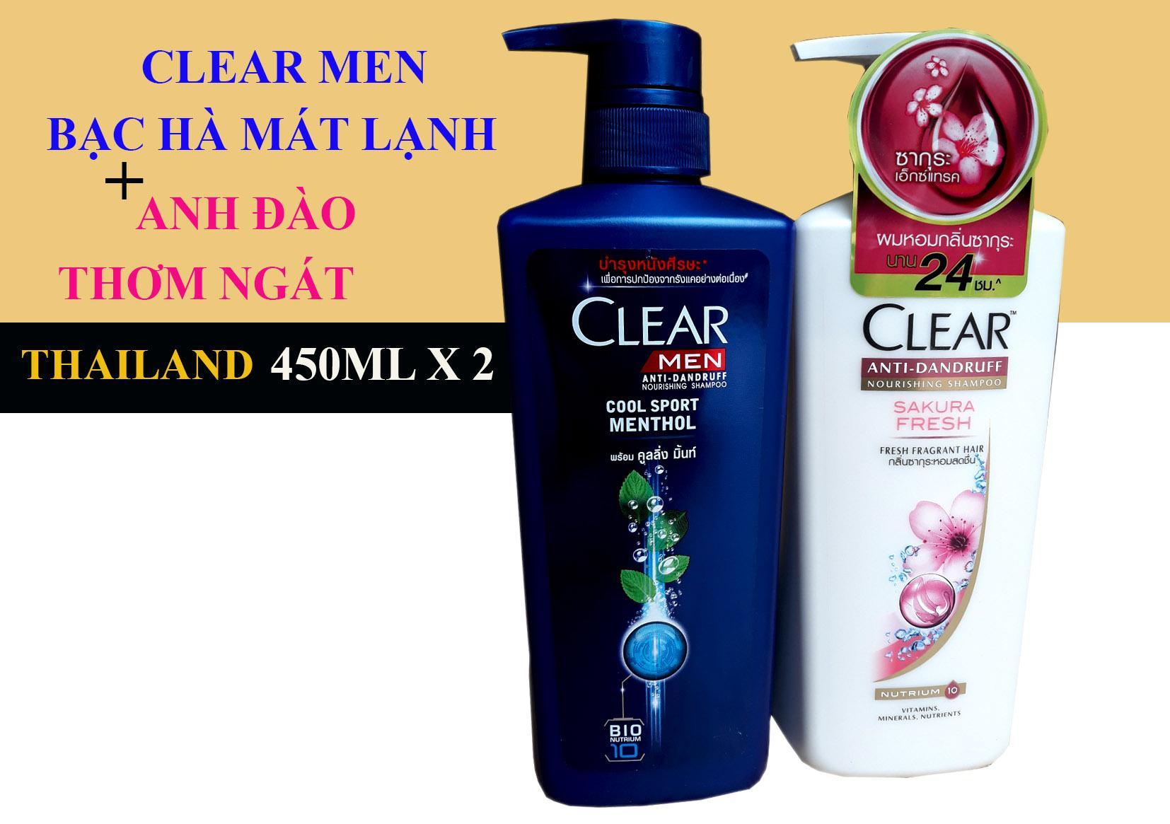 Bộ 2 Chai Dầu Gội Clear Anh Đào 480ml & Clear Men 450 ml Thái Lan