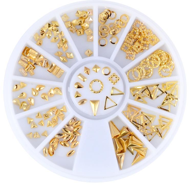 Khay tròn 12 ô hình kim loại vàng trang trí móng K01 tốt nhất