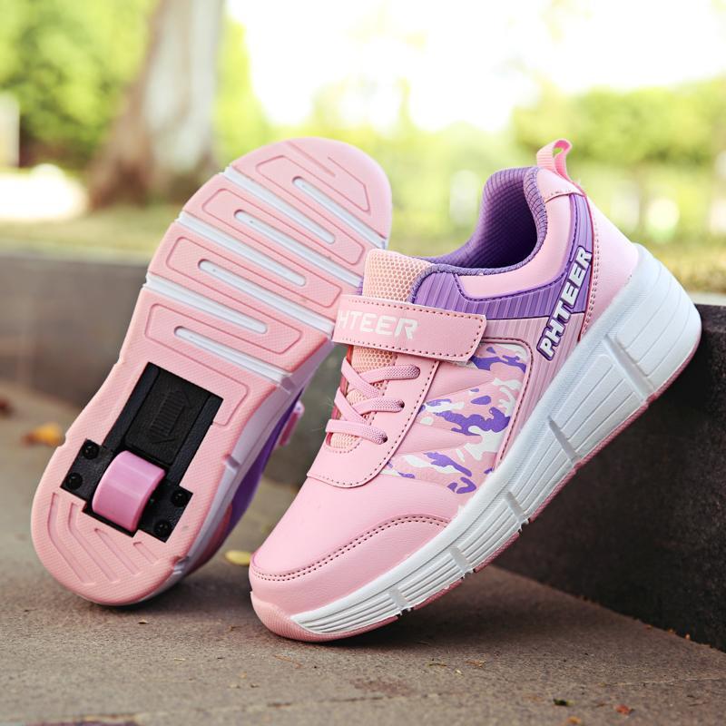 Phân phối Sinh Viên Giày Bánh Xe Cô Gái Trẻ Em Tự Động Ròng Rọc Giày Bé Trai Có Bánh Xe Giầy Thể Thao Người Lớn Hai Bánh Xe 4 Bánh Thay Thế Đi Bộ Giày