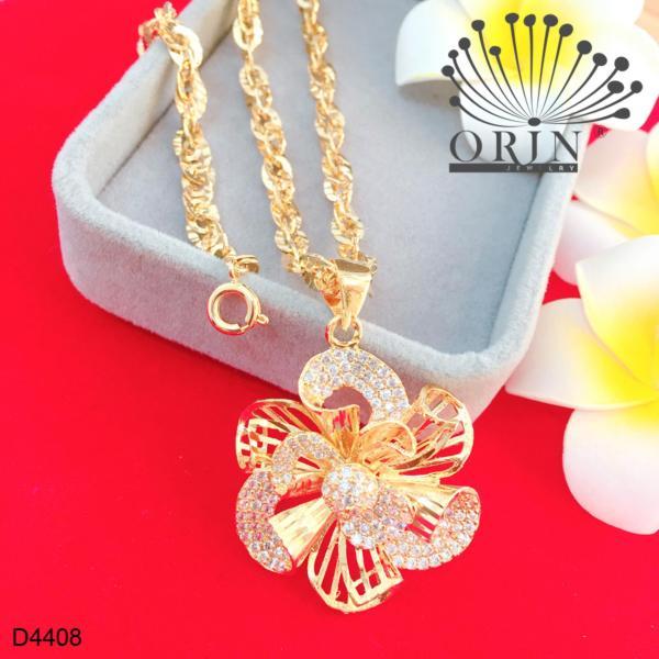 Dây chuyền nữ dây khế mặt hoa xoáy nhụy đính đá thiết kế cao cấp Orin D4408