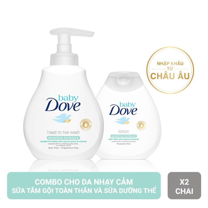 Combo Sữa Tắm Gội Toàn Thân (200ml) Và Sữa Dưỡng Thể Baby Dove Cho Da Nhạy Cảm (200ml) nhập khẩu