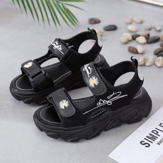 (2 MÀU) Sandal nữ 2 quai ngang hoa cúc hót trend êm chân đế cao cấp 2 màu Trắng Đen thumbnail