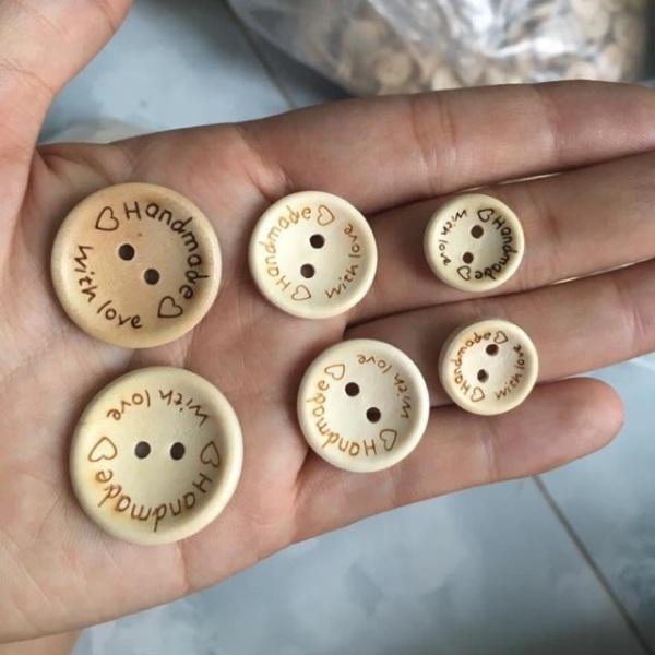 Nút gỗ tròn handmade (10 cái)