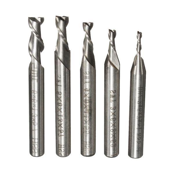Mua SWT 5Pcs 2 Flute 2/3/4/5/6mm HSS End Mill Milling Cutter CNC Engraving Bit Extended