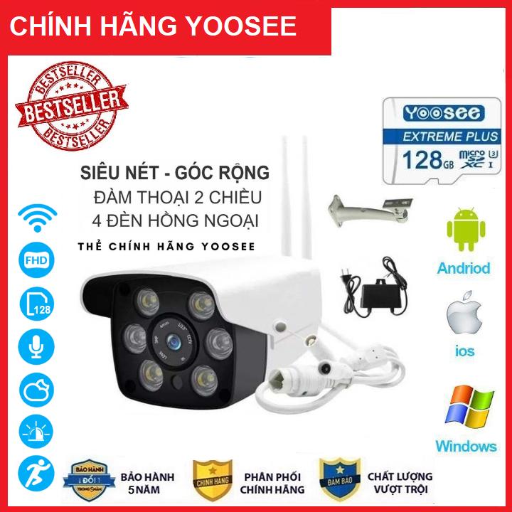[Có Màu Ban Đêm Tặng Thẻ Nhớ 128GB Mã 465K và Không Thẻ với Mã 380K] Camera Wifi Yoosee 3.0 Mpx Full Hd 1080P, Hỗ Trợ 2 Đèn Hồng Ngoại Và 4 Đèn LED Kèm Thẻ Nhớ 128GB