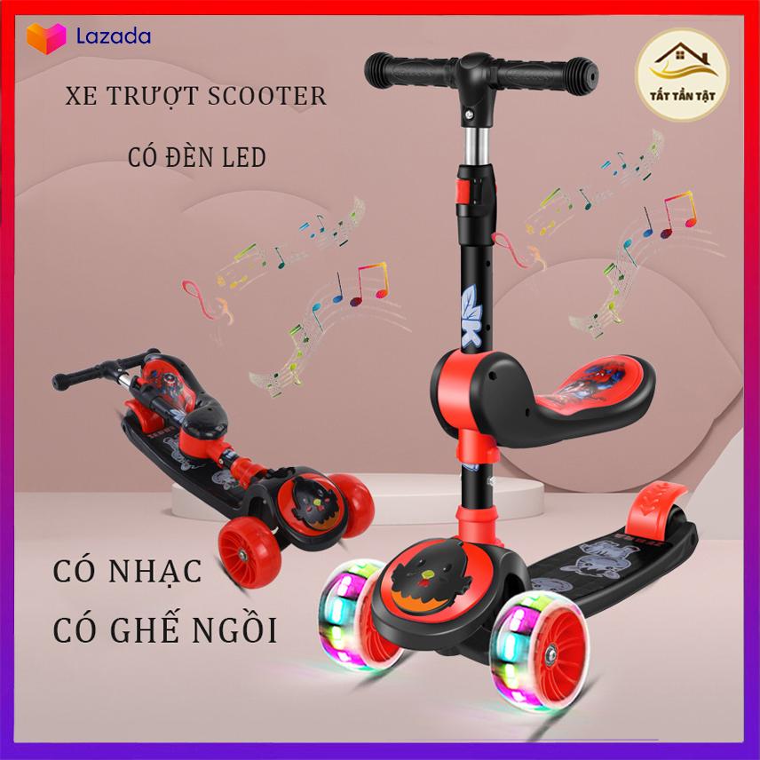 Xe Trượt Scooter, Xe tròi chân Scooter có nhạc, có đèn led 3 Trong 1, Cho Bé Từ 3 - 8 Tuổi Tải Trọng Lên Đến 100kg, Đồ Chơi hoạt động ngoài trời cho bé