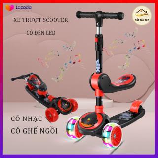 Xe Trượt Scooter, Xe tròi chân Scooter có nhạc, có đèn led 3 Trong 1, Cho Bé Từ 3 - 8 Tuổi Tải Trọng Lên Đến 100kg, Đồ Chơi hoạt động ngoài trời cho bé thumbnail
