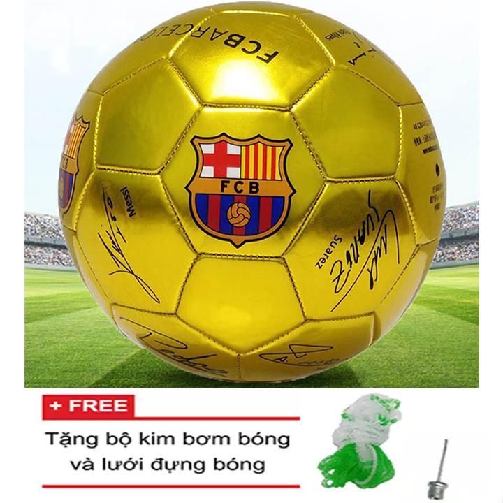 Bóng đá cho sân cỏ tự nhiên, sân cỏ nhân tạo logo Barcelona số 4-Tặng kim bơm và lưới đựng bóng Nhật Bản