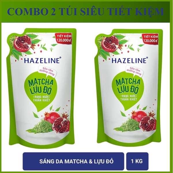 COMBO 2 túi sữa tắm Hazeline Lựu & Matcha (Xanh) 1KgX2 giá rẻ