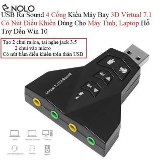 USB Ra Sound 4 Cổng Kiểu Máy Bay 3D Virtual 7.1 Có Nút Điều Khiển Dùng Cho Máy Tính, Laptop Hỗ Trợ Đến Win 10 thumbnail