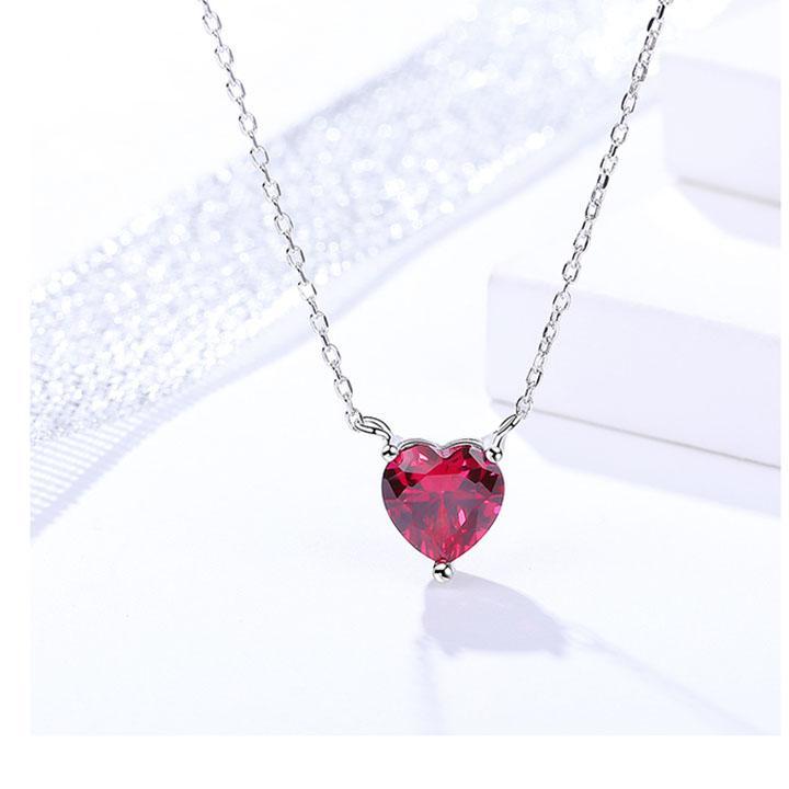 Dây Chuyền Silver Ý S925 Bảo Ngọc Jewelry Đính Đá Tự Nhiên Trái Tim DB-2325
