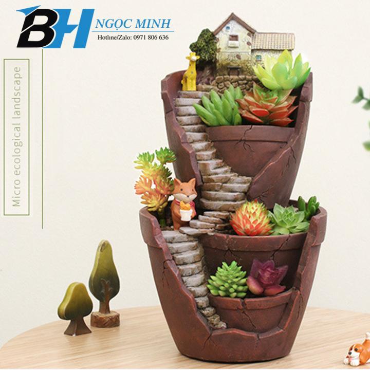 Chậu trồng cây, Ngôi nhà trên cao hai tầng