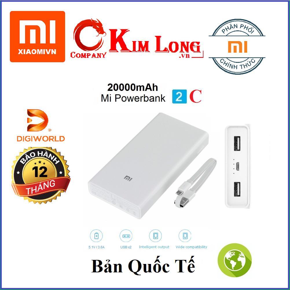 Pin sạc dự phòng Xiaomi 20000 mAh Gen 2C Bản Quốc Tế toàn cầu, VXN4220GL - Hàng DigiWorld phân phối