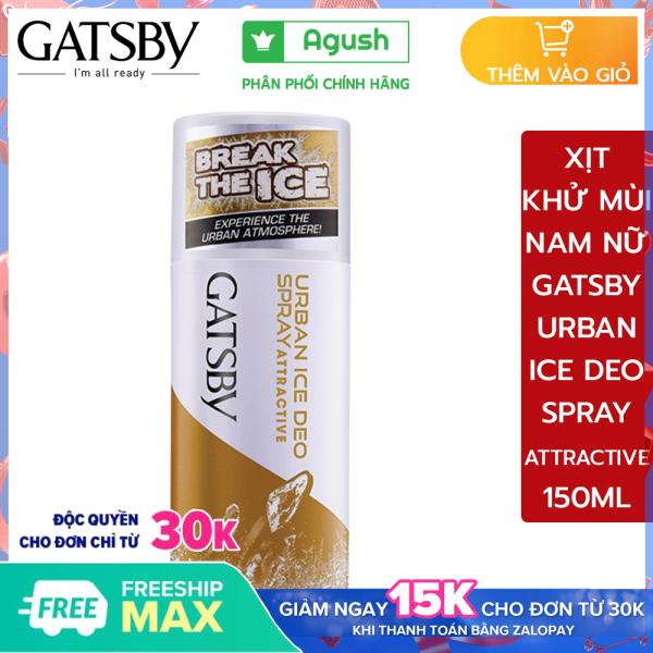 Xịt khử mùi nam hôi nách toàn thân body Gatsby Urban Ice Deo Spray Attractive 150ml thơm lâu cơ thể hương nước hoa cao cấp ngăn mồ hôi diệt khuẩn bỏ túi giá rẻ