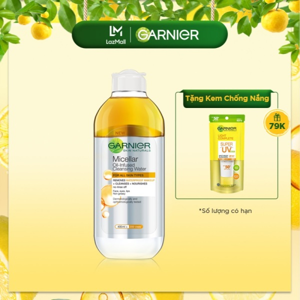 [Áp VC 10%] Nước làm sạch và tẩy trang cho da khô & trang điểm lâu trôi Garnier Micellar Water Oil-Infused 400ml giá rẻ