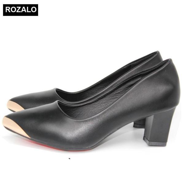 Giày cao gót vuông 5P mũi nhọn bọc thép Rozalo R5585 giá rẻ